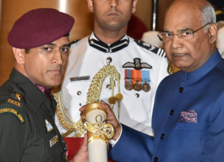 MS Dhoni receives Padma Bhushan