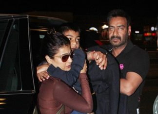 Bollywood Actor,Ajay Devgan,Kajol,Son Yug Devgan,Daughter Nysa Devgan,Mumbai Airport