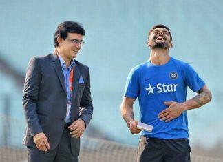 Indian Former Captain Sourav Ganguly With Virat Kohli