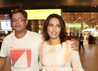 Swara bhaskar,Himanshu sharma,boyfriend,spooted at airport
