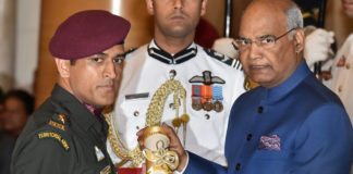 MS Dhoni receives Padma Bhushan