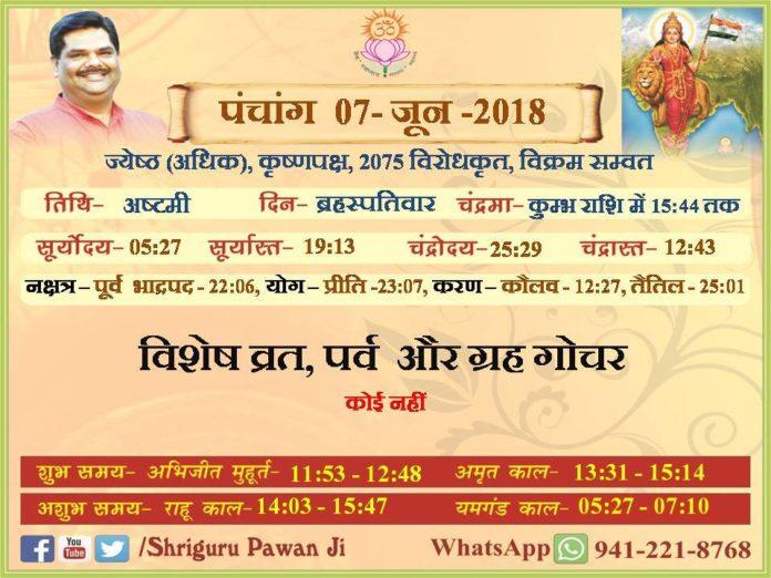 Aaj Ka Panchang, Paawan Chintan Dhara Ashram, Paawan Panchang, Shriguru Pawanji,